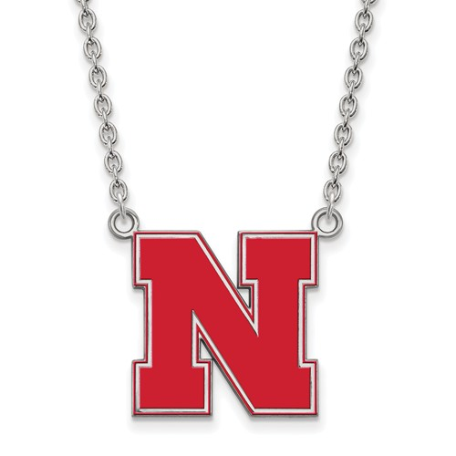 Silver 3/4in University of Nebraska N Enamel Pendant and 18in Chain
