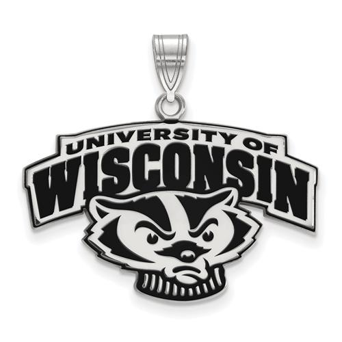 Sterling Silver 3/4in University of Wisconsin Enamel Pendant