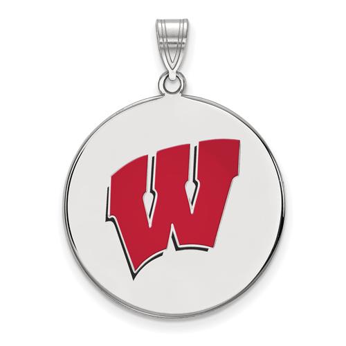 Sterling Silver 1in University of Wisconsin W Round Enamel Pendant