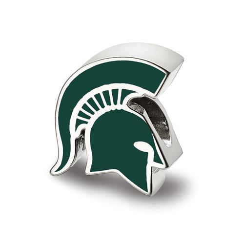Sterling Silver Michigan State University Spartan Helmet Logo Bead