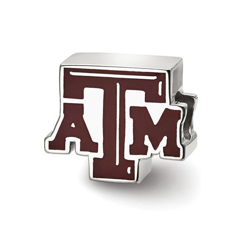 Sterling Silver Texas A&M University ATM Enameled Logo Bead
