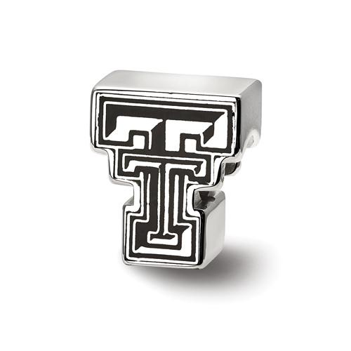 Sterling Silver Texas Tech University Enameled Bead