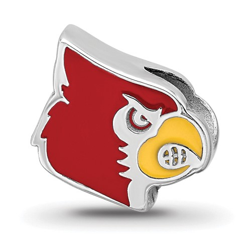 Sterling Silver University of Louisville Cardinal Enameled Bead