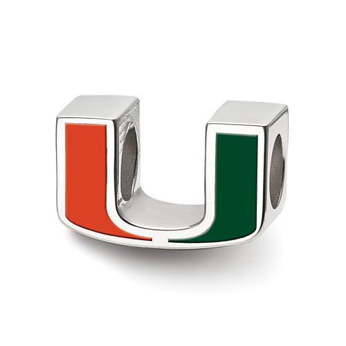 Sterling Silver University of Miami U Enamel Logo Bead