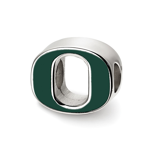 Sterling Silver University of Oregon O Enamel Logo Bead