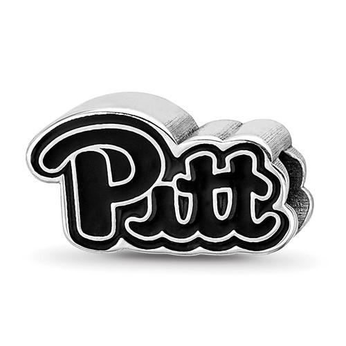 Sterling Silver University of Pittsburgh Pitt Enamel Logo Bead