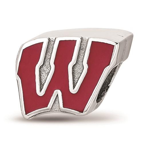 Sterling Silver University of Wisconsin W Enamel Bead