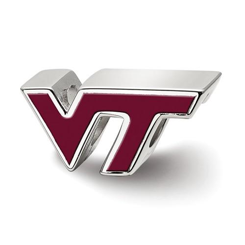 Sterling Silver Virginia Tech GT Enameled Bead