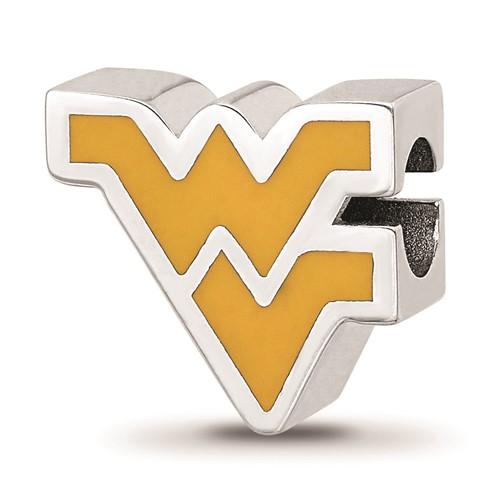 Sterling Silver West Virginia Mountaineers Enamel Bead