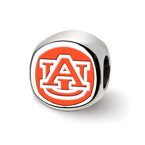 Sterling Silver Auburn University Enameled Bead
