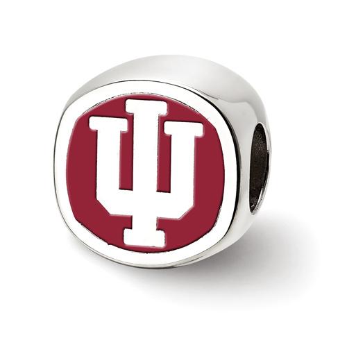 Sterling Silver Indiana University Cushion Logo Bead