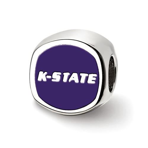 Sterling Silver Kansas State University Cushion Bead