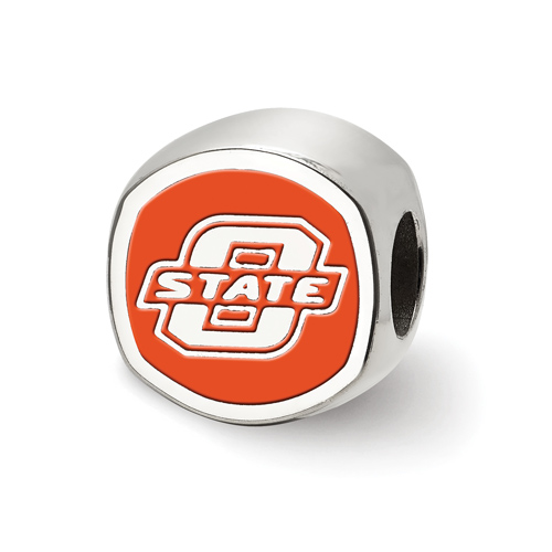 Sterling Silver Oklahoma State University Cushion Enameled Bead