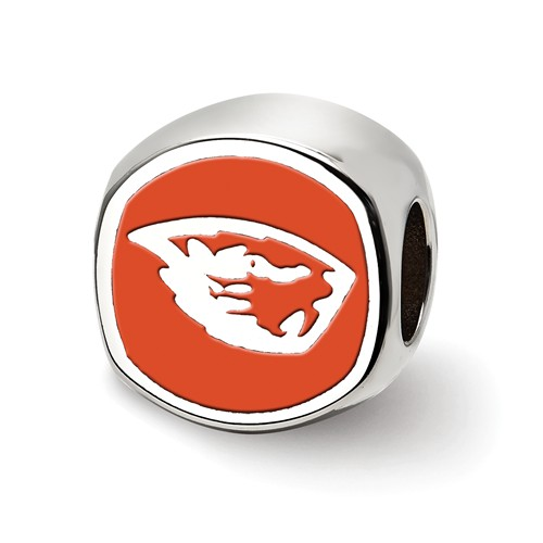 Sterling Silver Oregon State University Cushion Enameled Bead