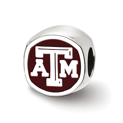 Sterling Silver Texas A&M University Cushion Shaped Logo Bead