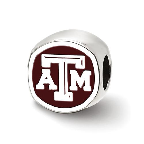Sterling Silver Texas A&M University Cushion Shaped Logo Bead