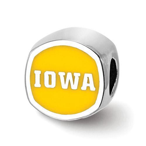 Sterling Silver University of Iowa Cushion Bead