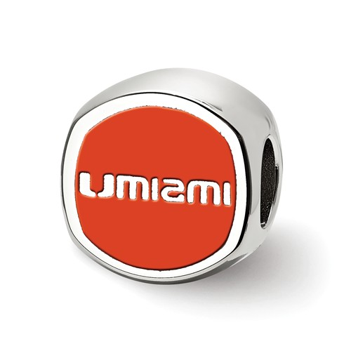 Sterling Silver University of Miami Cushion Logo Bead