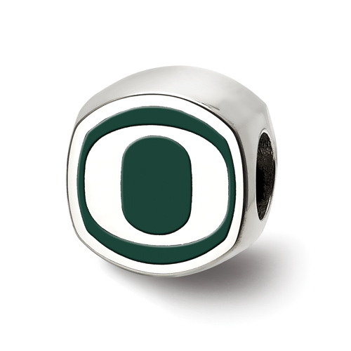 Sterling Silver University of Oregon O Double Logo Bead