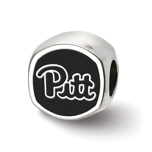 Sterling Silver University of Pittsburgh Cushion Shaped Logo Bead
