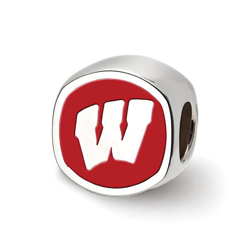 Sterling Silver University of Wisconsin Cushion Shaped Logo Bead