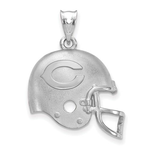 Sterling Silver Chicago Bears Football Helmet Pendant 5/8in