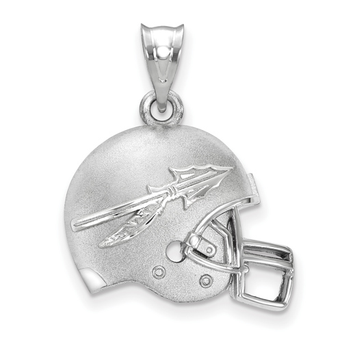 Sterling Silver 3/4in Florida State University 3-D Arrow Football Helmet Pendant