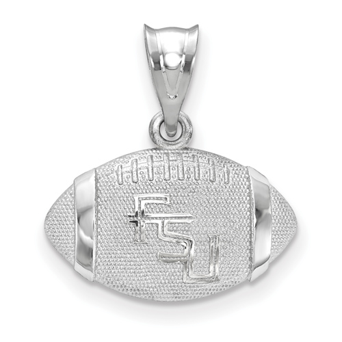 Sterling Silver 3/8in Florida State University Football Pendant