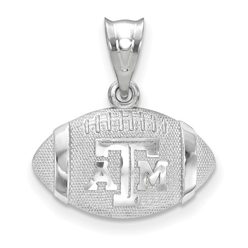 Sterling Silver Texas A&M University 3-D Football Pendant