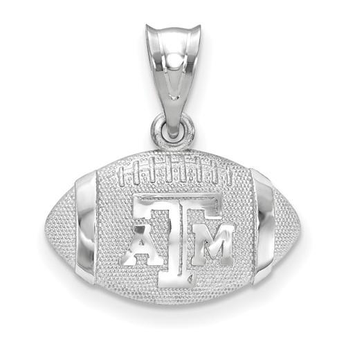 Sterling Silver Texas A&M University 3-D Football Pendant