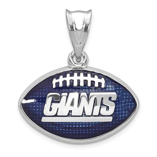 Sterling Silver New York Giants Enameled Football Pendant