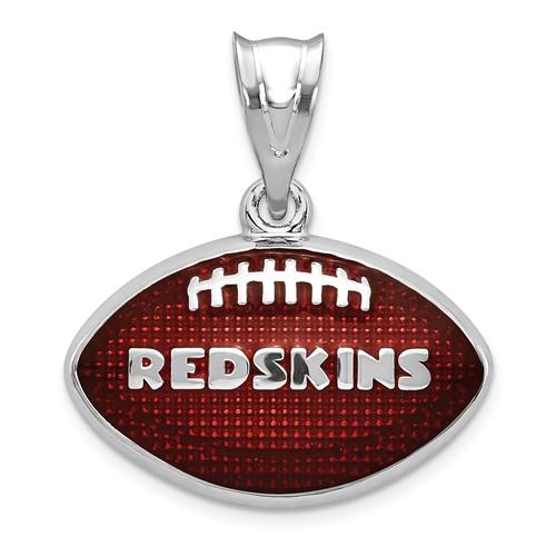 Sterling Silver Washington Redskins Enameled Football Pendant