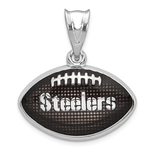 Sterling Silver Pittsburgh Steelers Enameled Football Pendant