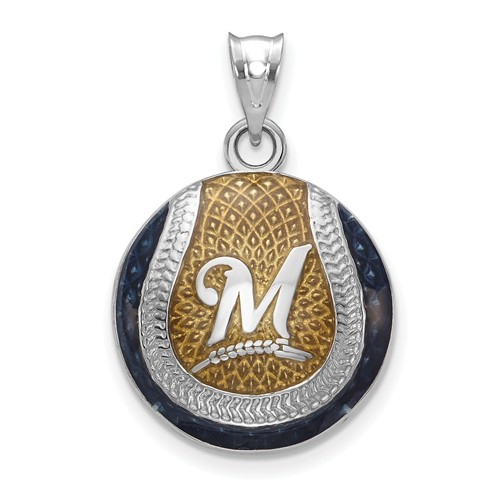 Sterling Silver Milwaukee Brewers Enameled Baseball Pendant 3/4in