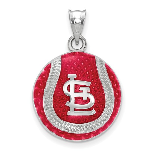 Sterling Silver St. Louis Cardinals Enameled Baseball Pendant 3/4in