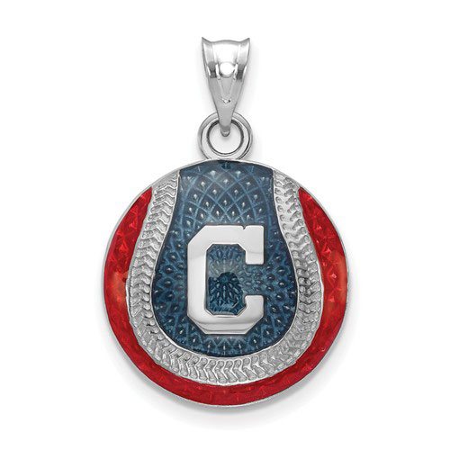 Sterling Silver Cleveland Indians Enameled Baseball Pendant 3/4in