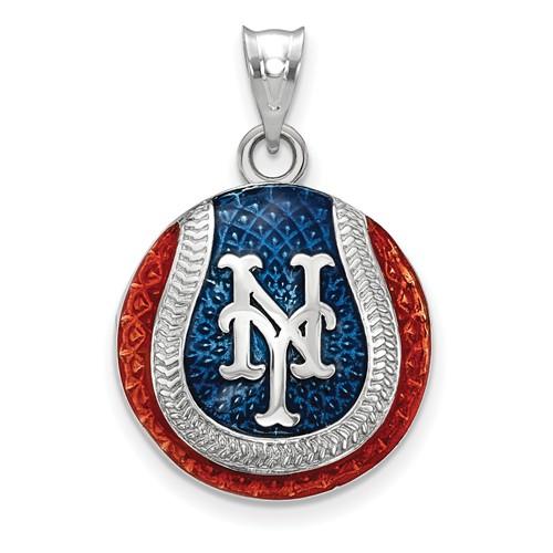 Sterling Silver New York Mets Enameled Baseball Pendant 3/4in