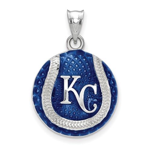 Sterling Silver Kansas City Royals Enameled Baseball Pendant 3/4in