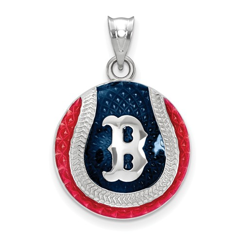 Sterling Silver Boston Red Sox Enameled Baseball Pendant 3/4in