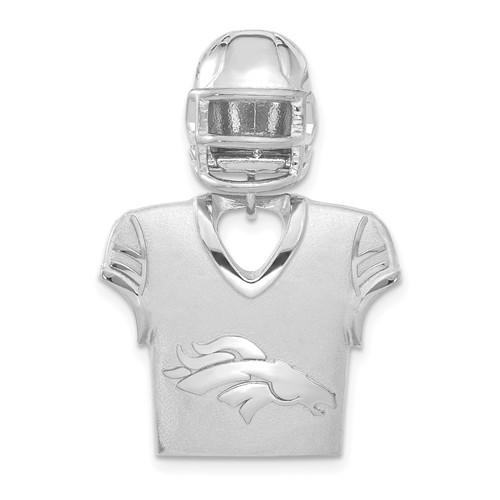Sterling Silver Denver Broncos Jersey Helmet Pendant 1 1/4in