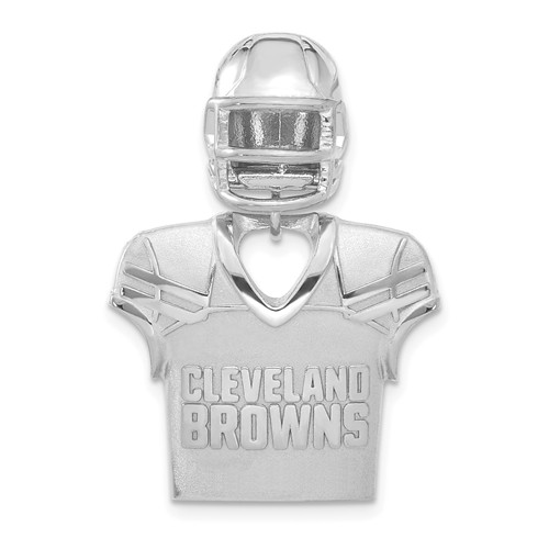 Sterling Silver Cleveland Browns Jersey Helmet Pendant 1 1/4in