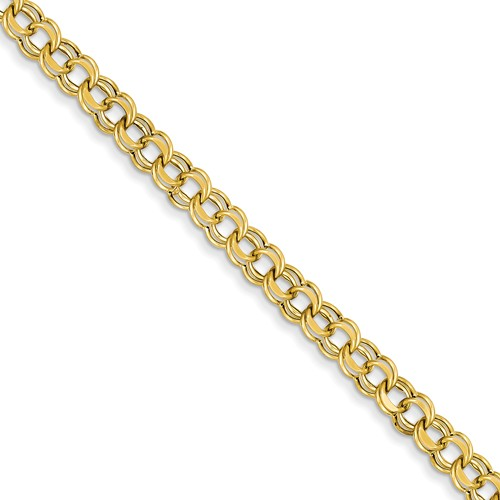 14kt Yellow Gold 7in Hollow Double Link Charm Bracelet 6mm