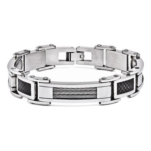 Stainless Steel 8 1/2in Bracelet with Carbon fiber and cable links