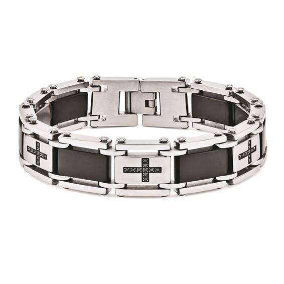 Stainless Steel 8 1/2in Bracelet with Black Diamond Crosses