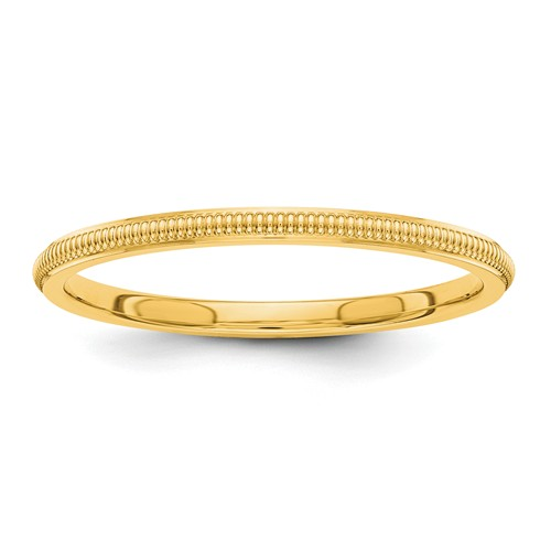 14k Yellow Gold 1.5mm Milgrain Wedding Band