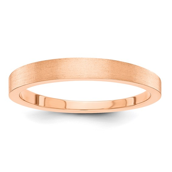 14kt Rose Gold 3mm Tapered Satin Wedding Band