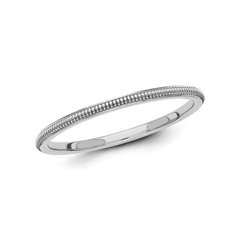 14kt White Gold 1.5mm Milgrain Wedding Band