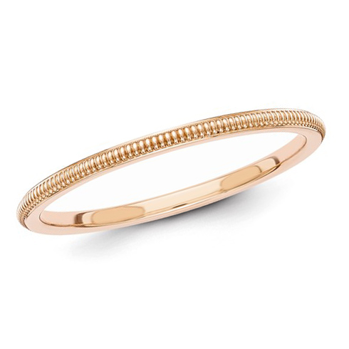 14kt Rose Gold 1.5mm Milgrain Wedding Band