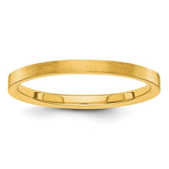 14kt Yellow Gold 2mm Flat Satin Wedding Band