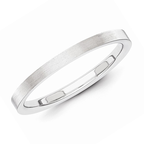 14kt White Gold 2mm Flat Satin Wedding Band